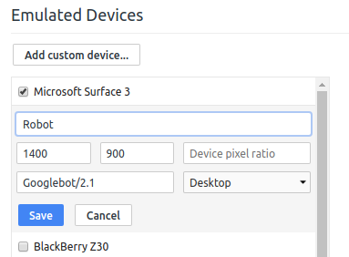Chrome Add Custom Device