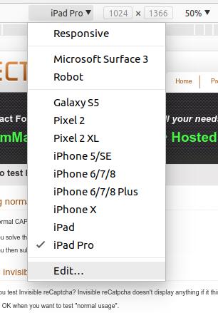 Chrome Device Toolbar Menu