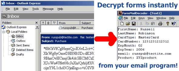 FormMailDecoder decrypts forms from your email inbox.